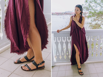 hey pretty thing blogger burgundy dress black sandals black flats summer outfits