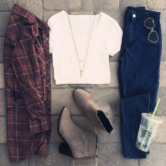 flannel shirt flannel fall outfits jeans skinny pants white t-shirt boots sunglasses