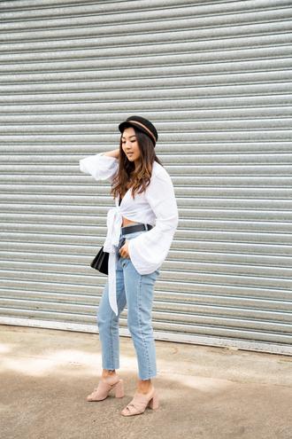 top tumblr white top crop tops tie-front top denim jeans blue jeans mules shoes hat