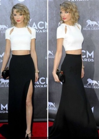 taylor swift black skirt slit skirt white crop tops