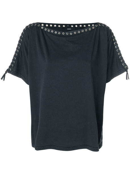 Diesel t-shirt shirt t-shirt women embellished cotton grey top