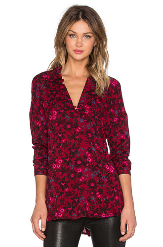 top long floral red