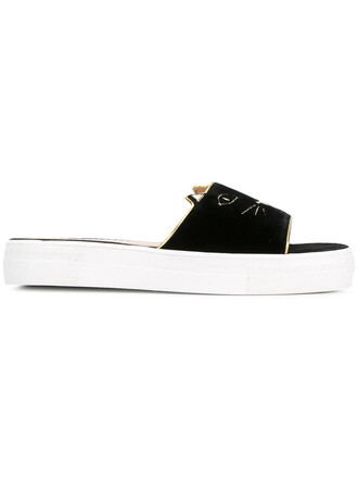 embroidered women sandals leather black velvet shoes