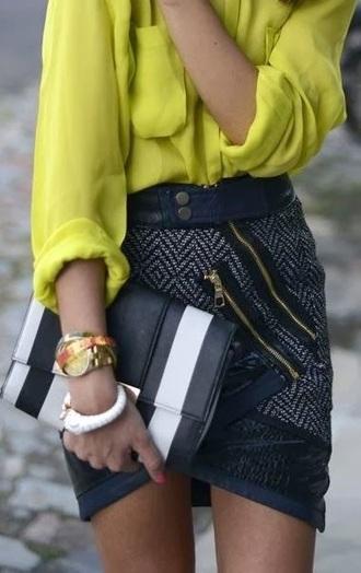 shirt skirt zips bodycon skirt pencil skirt green shirt black skirt beautiful outfit