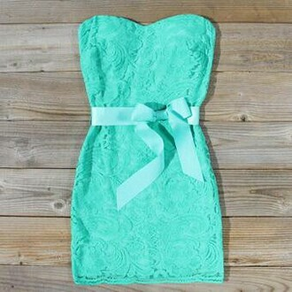 dress mint dress lace dress bow blue blue dress tiffany blue strapless dress strapless bows pretty lace mint amazing
