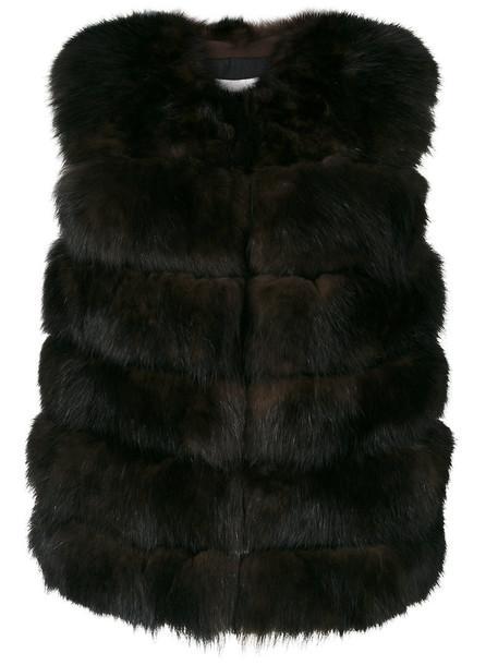 coat sleeveless coat sleeveless fur fox women suede silk brown