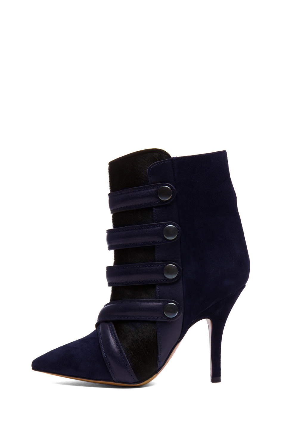 Isabel Marant|Tacy Goat Suede Leather Pony Booties in Midnight