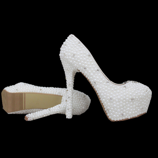 Aliexpress.com : Buy 2016 Sale Lace Wedding Shoes Stock PU Cheap Platform  Apatos Mujer Pearl Women Pumps High Heel Ivory ...