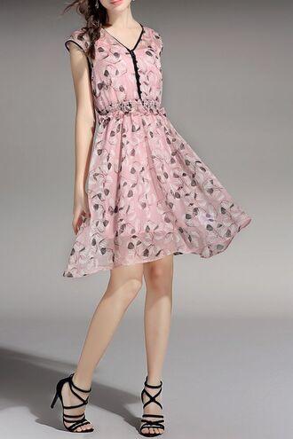 dress dezzal cute cute dress pastel floral boho chic pink dress