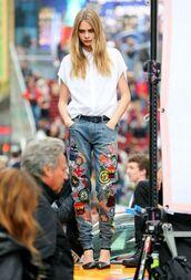 jeans,patched denim,denim,shirt,white shirt,cara delevingne,celebrity,model