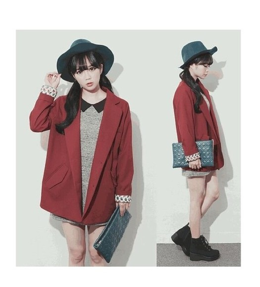 long dress coat cute red fashion collar ulzzang korean blazer woman hat