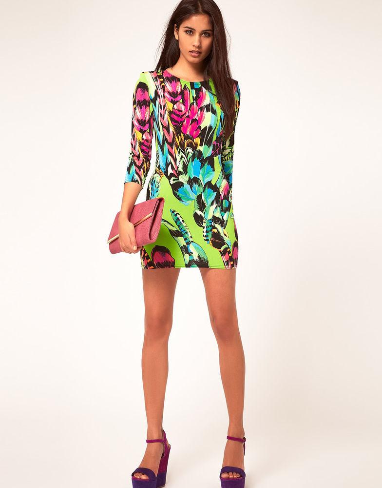 John Zack Feather Print Dress with 3 4 Sleeves UK Sz 8 US Sz Small | eBay
