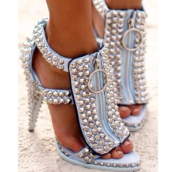 Shoes: studs sandals baby blue light blue high heels style