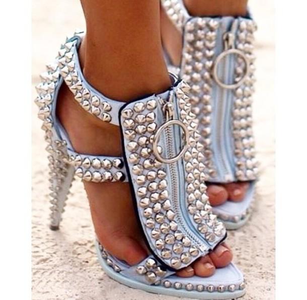 261ad6f0dbd7 shoes studs sandals baby blue light blue high heels style stilettos fashion