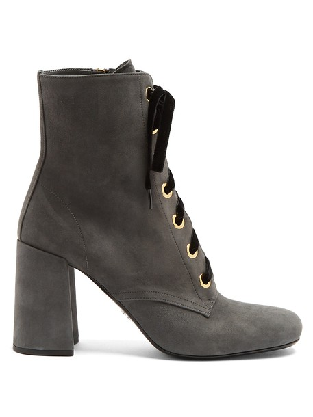 Prada suede ankle boots ankle boots lace suede grey shoes