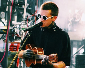 sunglasses tyler joseph celebrity singer black shirt mens shirt shirt white sunglasses guitar