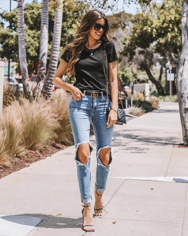jeans ripped jeans denim top black top belt gucci belt