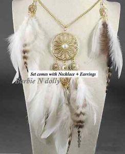 Bohemian dream catcher necklace   earrings set