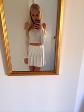skirt,pleated,miniskirt,mini skirt,high waisted skirt,white skirt,preppy