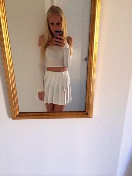 skirt mini skirt white skirt high waisted skirt pleated preppy