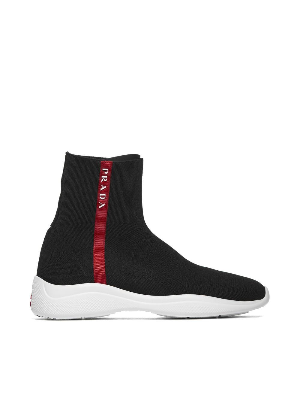Prada Linea Rossa Logo Striped Hi-top Sneakers in nero