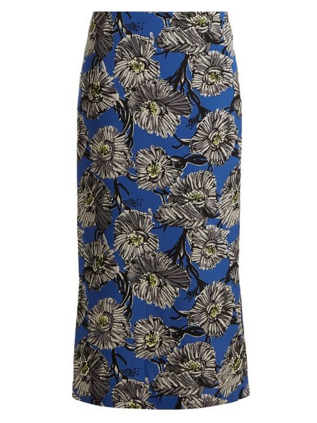 Raey - Giant Floral Print Silk Pencil Skirt - Womens - Blue Multi