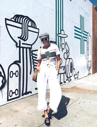 pants tumblr white pants culottes shoes mules t-shirt white t-shirt hat white sunglasses