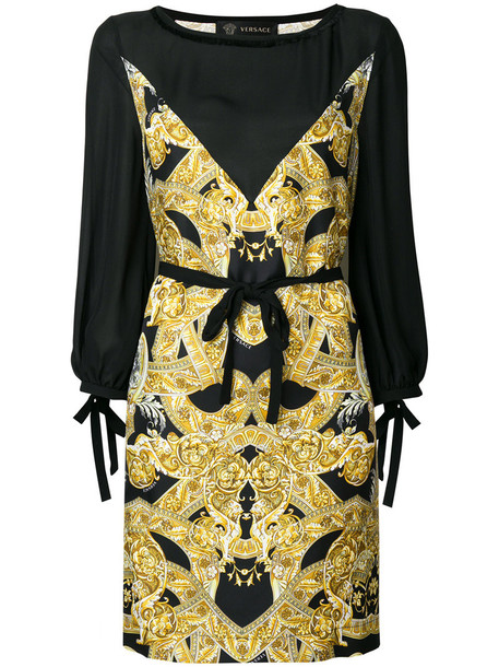 VERSACE dress print dress women print silk yellow orange