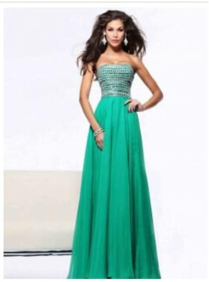 green dress formal dress