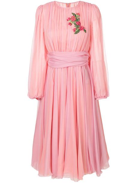 Dolce & Gabbana dress chiffon dress chiffon embroidered women spandex cotton silk purple pink