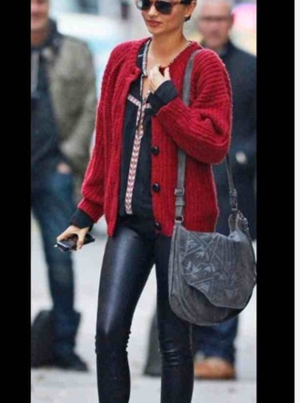 sweater red sweater knitwear knitted sweater miranda kerr
