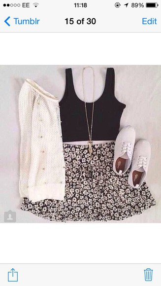 white cardigan skirt blue skirt floral skirt navy crop top white jumpers white shoes spike necklace