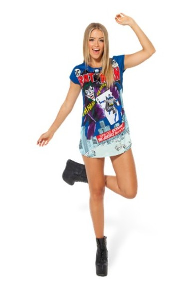 batman dress tshirt dress gotham city joker blue dress