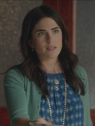 cardigan green blue diamond print how to get away with murder karla souza laurel castillo blouse necklace jewels