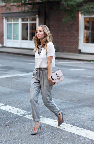 brooklyn blonde blogger white crop tops classy statement necklace grey pants drawstring pants studded bag office outfits necklace jewelry silver necklace statement