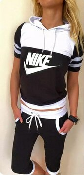 romper,jumpsuit,black jumpsuit,short jumpsuit,black romper,black hoodie,hoodie,short sleeve,nike t shirt,nike hoodie,nike,nike logo,nike logo tracksuit,tracksuit,black tracksuit,sweatshirt,sweats,nike sweatpants,niek pants,niek tights,nike bottom,active,sportswear,workout,jogging set,black t shirt,t-shirt,fashion,street,streetwear,streetstyle,urban,summer,summer outfits,summer vacation,casual,cotton,gray sweats,black and white shorts,short,short pants,sports shorts,fitness,knee length,tumblr nike,nike suit,nike running,moraki,nike logo jogging suit,nike sweatsuits,workout leggings,black and white,sexy fitness  clothing
