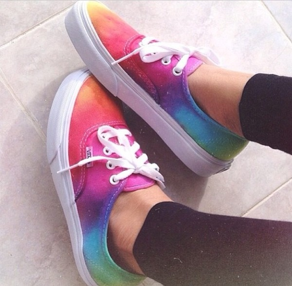 shoes tie dye vans galaxy print bright blend swag swag colorful white