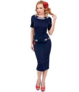 50s style pin up audrey hepburn sailor pencils party dress navy dress