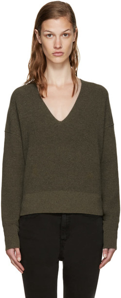 886d1b5571e1 Helmut Lang Green Cotton and Cashmere Sweater - Wheretoget