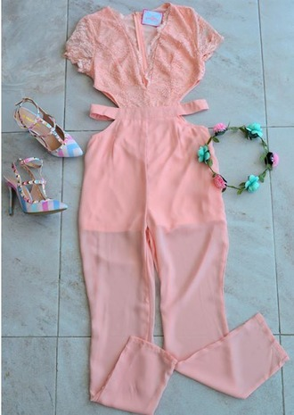 jumpsuit pink soft pink baby pink cut-out romper chiffon sheer summer spring pastel light fashion trendy fashionista cut out