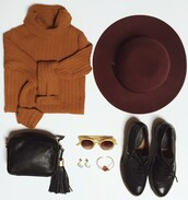 sweater,free people,fall colors,fall outfits,fall trend,felt hat,hat,burgundy,orange,autumn/winter,pull,chapeau,automne,outfit,outfit idea,revolve clothing,revolve,revolveme