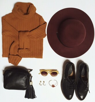 sweater free people fall colors fall outfits fall trend felt hat hat burgundy orange autumn/winter pull chapeau automne outfit outfit idea revolve clothing revolve revolveme