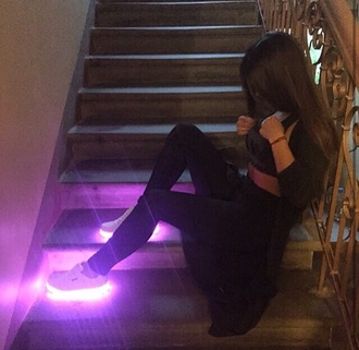 shoes light up sneakers purple white