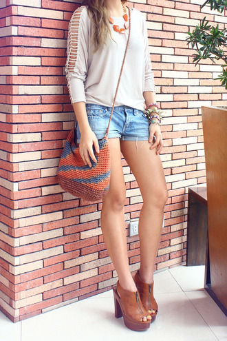 shoes zip wedges cut-out brown high heels