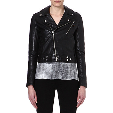 BLK DNM - Cropped leather biker jacket | Selfridges.com