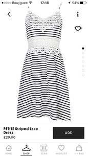dress,stripes,white,crochet,straps,lace,topshop,striped dress,lace dress,classic