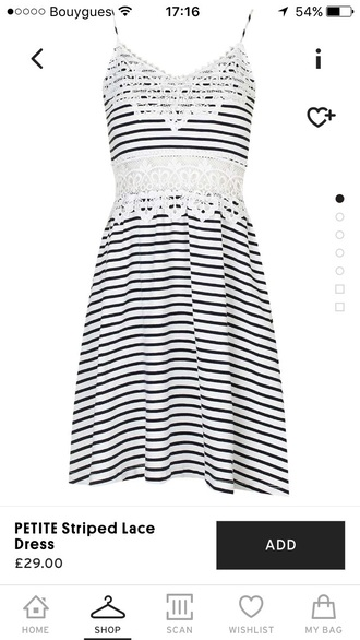 dress stripes white crochet straps lace topshop striped dress lace dress classic