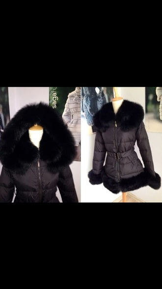 fur belted down jacket down warm goose fox duck raccoon bunny real expensive