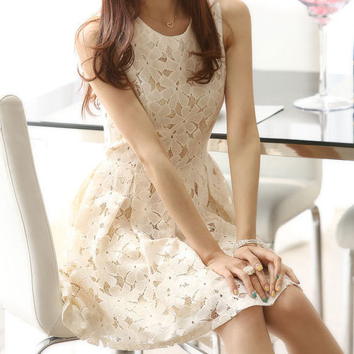 shego shopping mall — [grzxy6601084]Sleeveless Beige Bodycon Lace Skater Dress Ruffled Skirt Tunique