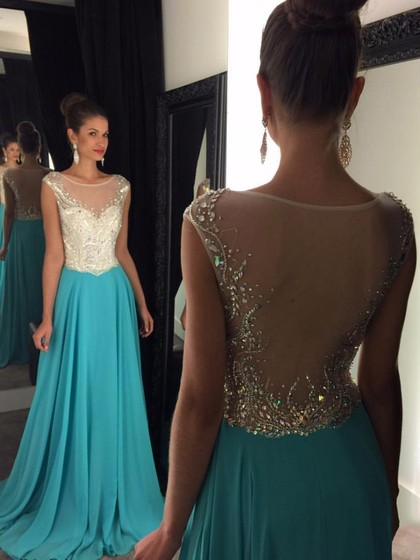 Promotion A-line Scoop Neck Tulle Chiffon with Beading Long Prom Dresses - dressesofgirl.com